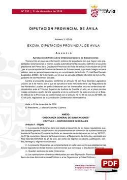 Ordenanza General de Subvenciones