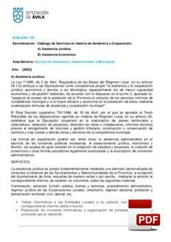 Servicios en materia de asistencia jurídica y Económica 2020