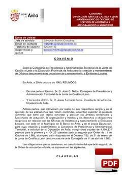 Convenio creación oficina de Asistencia y Asesoramiento a Municipios