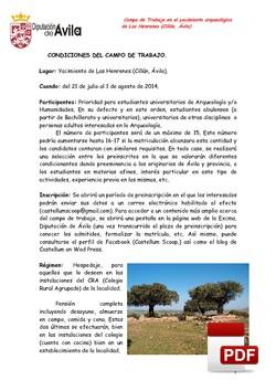 Dossier, campo arqueológico 2014