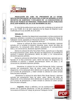 Lista definitiva de admitidos y excluidos para acceder a la Bolsa de Trabajo de personal de Trabajador Social