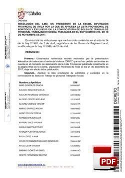 Lista provisional de admitidos y excluidos