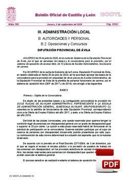 Bases y convocatoria para la provisión, por el sistema de oposición de acceso libre, de 12 plazas de Auxiliar Administrativo, funcionario de carrera (BOCYL).