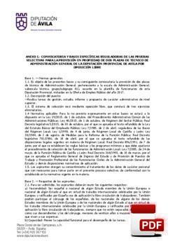 Convocatoria y Bases específicas reguladoras de las pruebas selectivas para la provisión en propiedad de dos plazas de Técnico de Administración General (TAG) de la diputación provincial de Ávila por oposición libre.