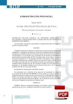 Relación definitiva de aspirantes admitidas/os y excluidas/os para la convocatoria para la selección de dos Técnicos de Administración General.