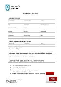 Modelo de instancia para plazas de auxiliar administrativo, perteneciente a la escala de Administración General, subescala auxiliar, grupo/subgrupo c2.