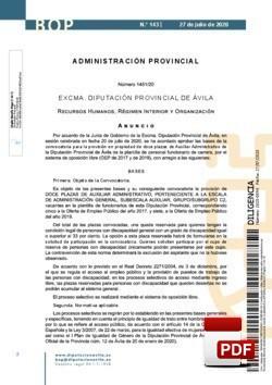 Convocatoria para la provisión de doce plazas de auxiliar administrativo, perteneciente a la escala de administración general, subescala auxiliar, grupo/subgrupo c2.