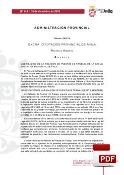Modificación de la R.P.T. del Pleno del 13 de diciembre de 2018