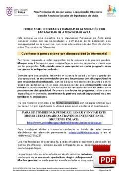 Cuestionario sobre el estudio de necesidades y demandas en la provincia de Ávila