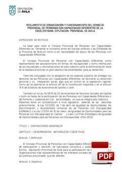 Reglamento del Consejo Provincial de Personas con Capacidades Diferentes.
